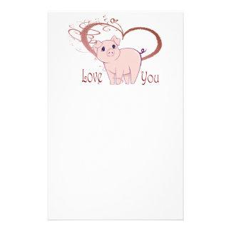 Love You, Cute Piggy Art Stationery