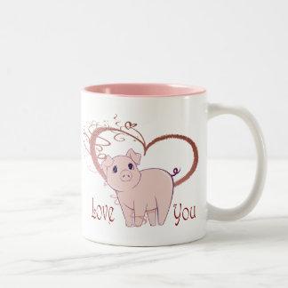 Love You, Cute Pink Pig and Swirl Heart Two-Tone Coffee Mug