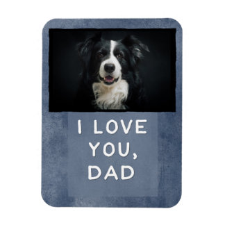 Love You Dad Custom Dark Blue Dog Photo Magnet (B)
