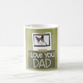 Love You, Dad Lime Green Cat Photo Mug