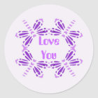 Love you, dragonflies in purple & mauve classic round sticker
