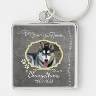 Love You Forever Dog Memorial Keepsake Silver-Colored Square Keychain