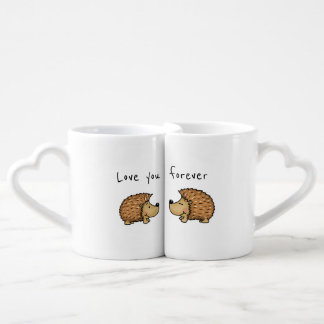 Love you forever - Hedgehog Mugs for couples.