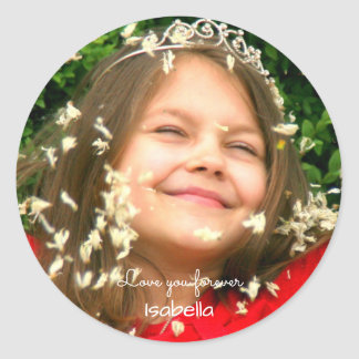 Love you Forever | upload your photo add name Classic Round Sticker