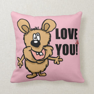 Love you fun cartoon character with pink customise throw pillow