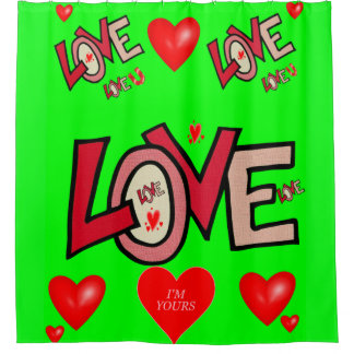 Love you green valentine's day shower curtain