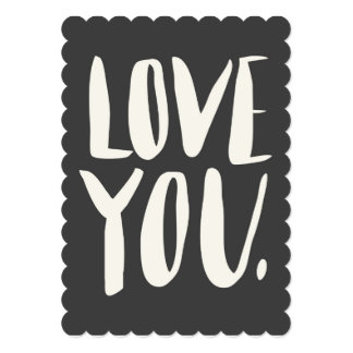 Love you Grey Scalloped Flat Card