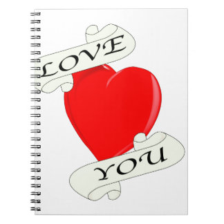 Love You Heart Spiral Note Book