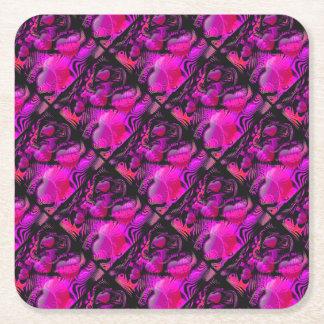 Love You Hearts Square Paper Coaster