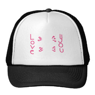Love You in Pink Letters Trucker Hat