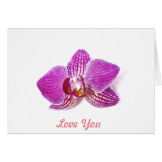 Love You, Lilac Orchid floral watercolor art Card
