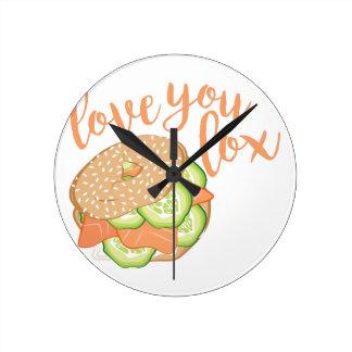 Love You Lox Round Clock