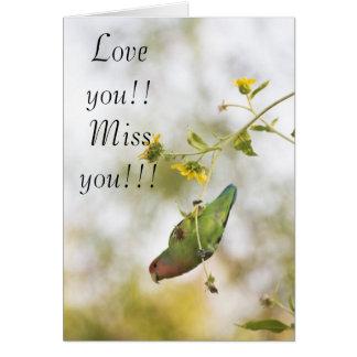 Love you miss you Love bird Card