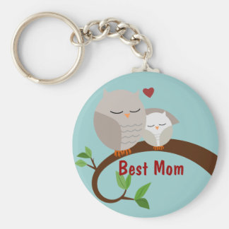 Love You Mom and Baby Owls Brown Basic Round Button Keychain
