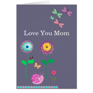 Love You Mom Floral Dragonflies Card