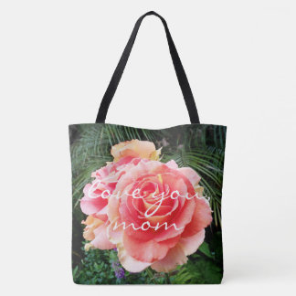 """""""Love you, Mom"""" quote pink rose close-up photo Tote Bag"""