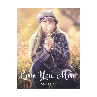 Love You Mom | Trendy White Typography and Photo Canvas Print