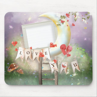 Love you moonlit scene mouse pad