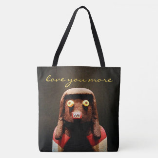 """Love you more"" fun, cute, odd face photo tote bag"