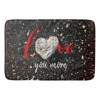 """Love You More"" Hawaii Beach and Coral Heart Photo Bath Mat"