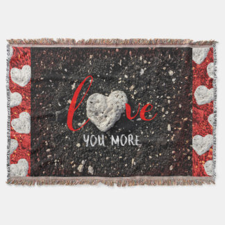 """Love You More"" Hawaii Beach and Coral Heart Photo Throw Blanket"