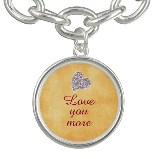 Love You More Quote Charm Bracelet