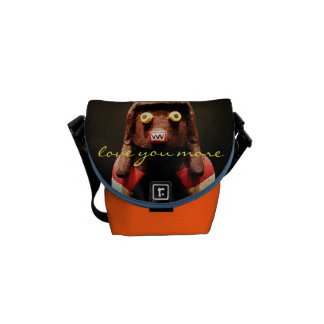 """""""Love You More"""" Quote Cute Funny Face Photo Mini Courier Bag"""