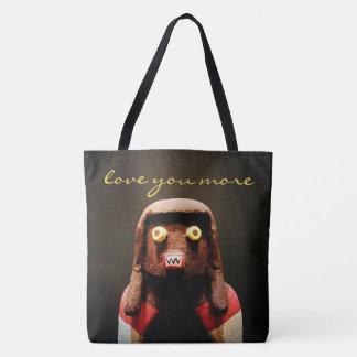 """Love you more"" quote funny cute odd face photo Tote Bag"