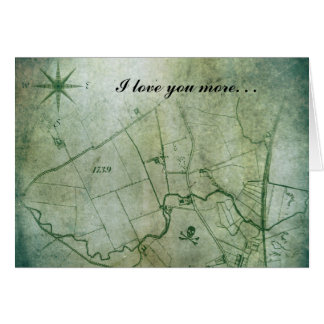 Love You More Vintage Map Steampunk Valentine Day Card