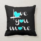 Love You More, White Aqua Hearts on Black Throw Pillow