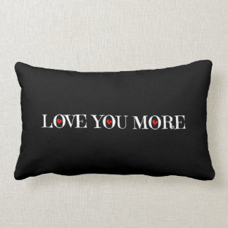 Love You More, White Red Hearts on Black Pillow