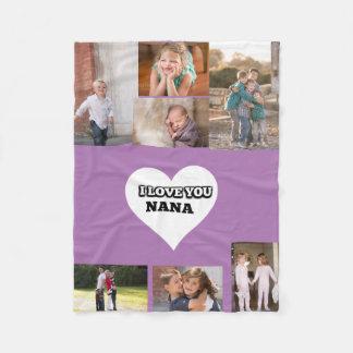 Love You Nana Inside A Heart Fleece Blanket