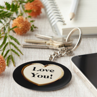 Love You! On Heart Keychain