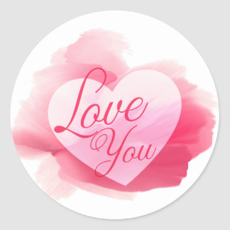 Love You Pink & Red Watercolor Heart Round Sticker