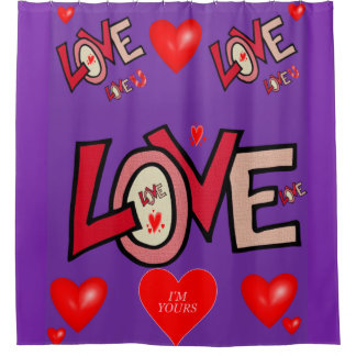 Love you purple valentine's day shower curtain