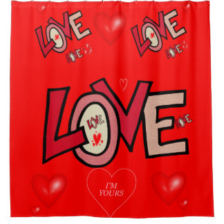 Love you red valentine's day shower curtain