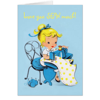 Love you SEW much - Valentine card - sewing girl