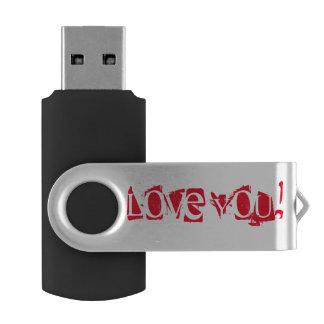 Love you - Silver, 16 GB, Black Swivel USB 3.0 Flash Drive