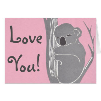 Love You! Sleeping Koala Pink Greeting Card