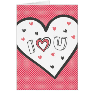 Love You So Much Romance Pink Heart Cute Sweet Greeting Card