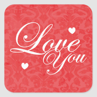 Love You Text Art Square Sticker