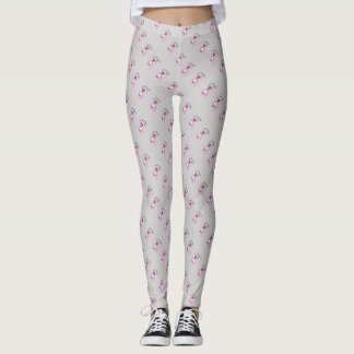 Love you text illustration of cat pink grey leggings