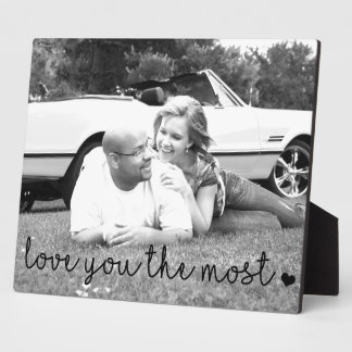 love you the most with heart simple modern plaque