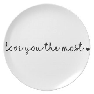 love you the most with heart simple modern plate