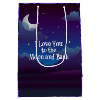Love You to the Moon and Back, Blue Indigo Medium Gift Bag