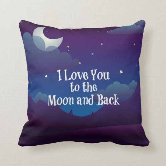 Love You to the Moon and Back, Blue Indigo Throw Pillow