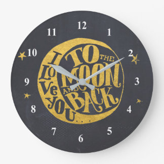Love You To The Moon And Back Cute Romantic Large Clock
