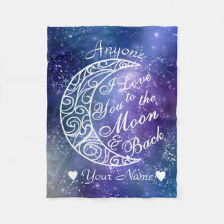 Love You To The Moon and Back Personalized Fleece Blanket