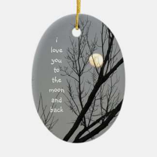 Love you to the moon and back, winter sky & moon ceramic ornament