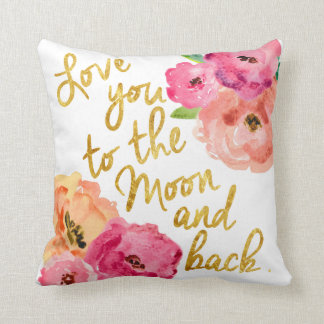 """Love You To the Moon & Back"" Floral Gold Pillow"